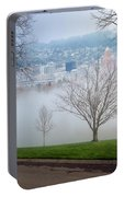 Morning Fog Over City Of Portland Skyline Portable Battery Charger