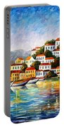 Morning Harbor - Palette Knife Oil Painting On Canvas By Leonid Afremov Portable Battery Charger