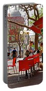 Morning On A Street In Tel Aviv Portable Battery Charger by Zalman Latzkovich