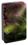 Morning Sun Rays On Old Japanese Maple Tree In Fall Portable Battery Charger