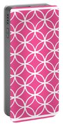 Moroccan Endless Circles I With Border In French Pink Portable Battery Charger