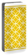 Moroccan Endless Circles I With Border In Mustard Portable Battery Charger
