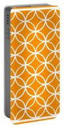Moroccan Endless Circles I With Border In Tangerine Portable Battery Charger