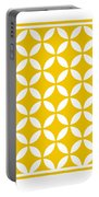Moroccan Endless Circles II With Border In Mustard Portable Battery Charger