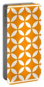 Moroccan Endless Circles II With Border In Tangerine Portable Battery Charger