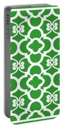 Moroccan Floral Inspired With Border In Dublin Green Portable Battery Charger