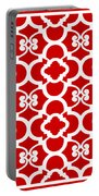 Moroccan Floral Inspired With Border In Red Portable Battery Charger