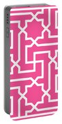 Moroccan Key With Border In French Pink Portable Battery Charger