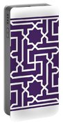 Moroccan Key With Border In Purple Portable Battery Charger