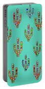 Mosaic Cacti On Aqua Portable Battery Charger