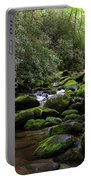 Moss Covered River Rocks Portable Battery Charger