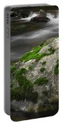 Mossy Boulder In Mountain Stream Portable Battery Charger