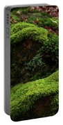 Mossy Rocks In Spring Woods Portable Battery Charger