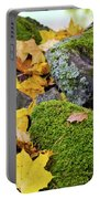 Mossy Stones And Maple Leaves Portable Battery Charger