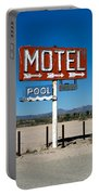 Motel Sign On I-40 And Old Route 66 Portable Battery Charger
