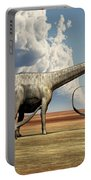 Mother Diplodocus Dinosaur Walks Portable Battery Charger by Corey Ford