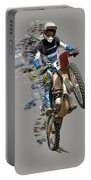 Motocross Rider With Flying Pieces Portable Battery Charger