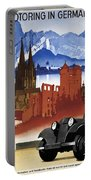 Motoring In Germany - Retro Travel Poster - Vintage Poster Portable Battery Charger