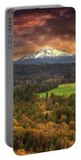 Mount Hood At Sandy River Valley In Fall Portable Battery Charger