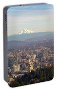 Mount Hood Over City Of Portland Oregon Portable Battery Charger