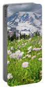 Mount Rainier And A Meadow Of Aster Portable Battery Charger