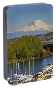 Mount Rainier From Thea Foss Waterway In Tacoma Portable Battery Charger