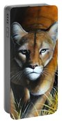 Mountain Lion In Tall Grass Portable Battery Charger