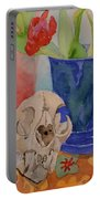 Mountain Lion Skull Tea And Tulips Portable Battery Charger