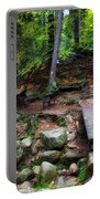 Mountain Trail With Staircase In Autumn Forest Portable Battery Charger