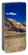 Mountains And Green Vegetation Chagor Tso - Lake Leh Ladakh Jammu Kashmir India Portable Battery Charger