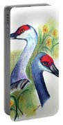 Mr And Mrs Sandhill Cranes Portable Battery Charger