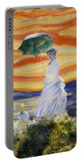 Ms Monet And Red Skies Portable Battery Charger