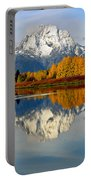 Mt Moran From Ox Bow Bend On A Fall Morning Portable Battery Charger