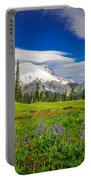 Mt Rainier And Wildflowers Portable Battery Charger