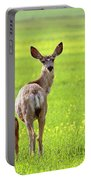 Mule Deer Doe And Fawn Looking Back Over Their Shoulders Portable Battery Charger