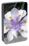 Multi-petal White Iris Flower. Very Unusual, Rare Form Portable Battery Charger