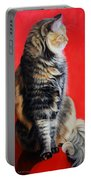 Multicolored Cat In Red Background  Portable Battery Charger