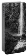 Multnomah Falls In Black And White Portable Battery Charger