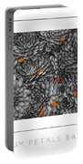 Mum Petals Bw Poster Portable Battery Charger