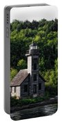 Munising Grand Island Lighthouse Upper Peninsula Michigan Vertical 02 Portable Battery Charger