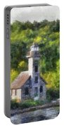 Munising Grand Island Lighthouse Upper Peninsula Michigan Vertical Pa 02 Portable Battery Charger
