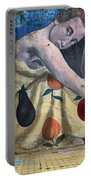 Mural Of A Woman In A Fruit Dress Portable Battery Charger