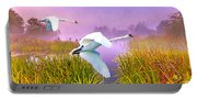Mute Swans Over Marshes Portable Battery Charger