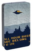 My All Your Base Are Belong To Us Meets X-files I Want To Believe Poster  Portable Battery Charger