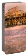 Myrtle Beach Apache Pier At Sunset Panorama Portable Battery Charger
