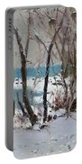 Naked Trees By The Lake Shore Portable Battery Charger