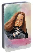 Nandi And Her Cat Portable Battery Charger by Charles Hetenyi