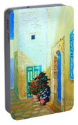 Narrow Street In Hammamet Portable Battery Charger