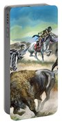 Native American Indians Killing American Bison Portable Battery Charger