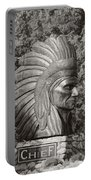 Native American Statue Monochrome Portable Battery Charger